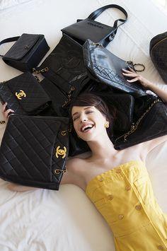 Vintage Chanel Vallis Maxi Dress & Vintage Chanel bags