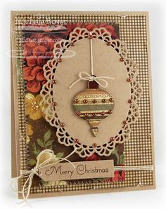 lovely christmas ornament card with warm, natural tones of red, green and creamy taupe.