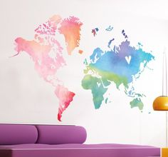 A splendid design of a world map with a touch of originality. This world map sticker is perfect to decorate your bedroom or living room. The watercolour effect is useful to bring some colour into your room and create a fresh atmosphere. World Map Sticker, Beach Mural, Wall Stickers Wallpaper, Flower Mural, Tree Wall Murals, Map Wall Decor, Photo Mural, Watercolor Walls, Wall Art Quotes