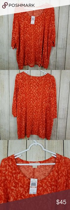 """Michael kors plus size tunic Pretty lightweight, flowy two tone orange tunic top.  Size 2x, new with tags.  Cotton rayon blend.  Very flattering!   Measurements armpit to armpit 30"""" length 28"""" sleeve length 7"""" Michael kors  Tops Tunics"""