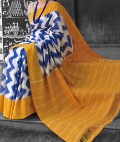 Designer Woven Ikkat Cotton Saree Ikkat Saree, Handloom Saree, Silk Sarees, Saris, Indian Attire, Indian Wear, Indian Dresses, Indian Outfits, Traditional Sarees