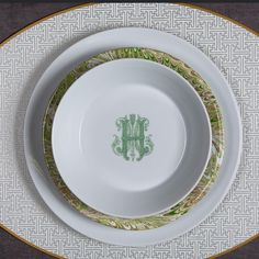 Fashion Has Always Been A Repetition Of Ideas, What Makes It New Is The Way You Put It Together - Carolina Herrera Sasha Nicholas Monogrammed Dish & Dinnerware with Juliska & Holly Stuart Placemats Perfect For Wedding Registry 5 colors & 6 fonts - or use your own custom monogram or crest !