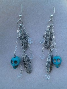 Day Of The Dead Skull Feather & Crystal Earrings by DreamsByAna, $10.00