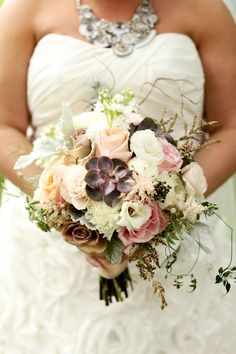 Textured Succulent and Rose Bridal Bouquet