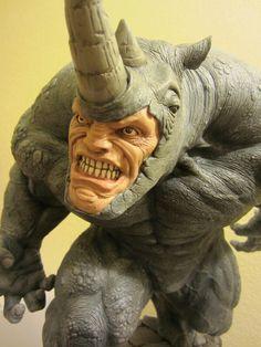 Rhino sculpture: close up face
