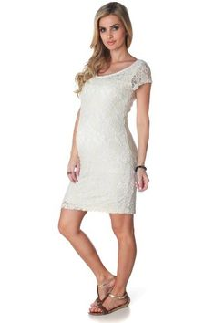 Ivory Textured Lace Maternity Dress Cute for Baby Shower.