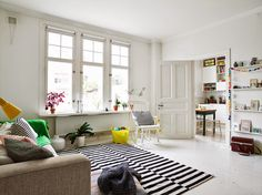 A cheerful Swedish home with flashes of bright colours