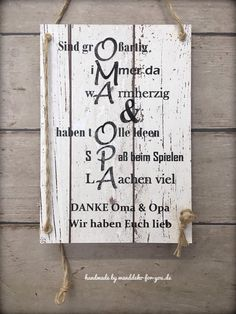 Geschenk mit bleibendem Wert für Großeltern, HANDMADE Schild Oma+Opa You are in the right place about diy birthday for sister Here we offer you the most beautiful pictures about the diy birthday board