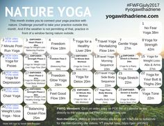 July 2017 FWFG Yoga Calendar - Nature YogaSarah https://www.sarahbethbowman.com/fwfg-yoga-calendars/july-2017-fwfg-yoga-calendar-nature-yoga