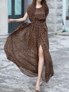 Leopard Print Short Sleeve Tie Waist Side Split Maxi Dress