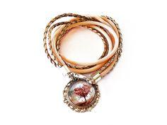 Bracelet Necklace 2in1 Classic Jewelry Gifts for Her Glass Pendant Strap Bracelet Peach Bracelet Tree Heart by MadeByJoLis on Etsy