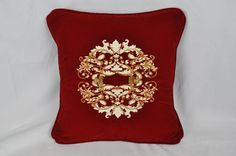 Gold Cream Floral Embroidered Pillow Made w Red Velvet Fabric Trim Self Cord | eBay