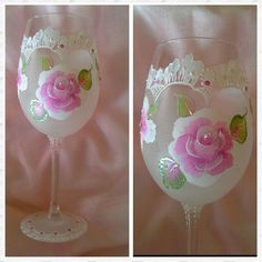 Handpainted wine glasses, lacey effect wine glass, available from my etsy shop