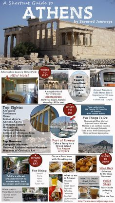 Shortcut Travel Guide to Athens, Greece - everything you need to know to start planning a trip, from where to stay, what to do and where to eat. travel Shortcut Travel Guide to Athens, Greece Greece Vacation, Greece Travel, Greece Trip, Cruise Vacation, Greece Cruise, Greece Honeymoon, Visit Greece, Vacation Spots, Vacation Ideas