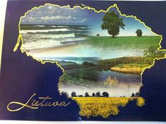 Sent by a Postcrosser in Lithuania. The painting of scenery is in the shape of Lithuania. (Postcrossing LT-116084)