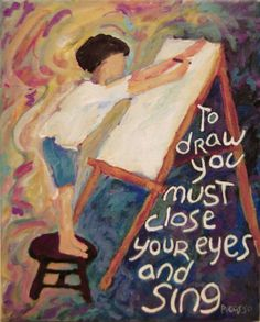 painting child artist easel Picasso quote by everygoodcolor, $50.00