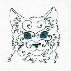 """This free embroidery design is called """"Swirly Cat Face"""