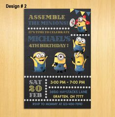 Minions Invitation Minions Party Invitations by PrintableSolution 3rd Birthday Boys, 2nd Birthday Parties, Minions 2, Minion Birthday Invitations, Rsvp, Etsy, Handmade Gifts, Party Ideas, Ticket Invitation