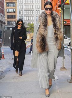 That's one way to get noticed: Kylie and Kendall Jenner knew how to turn heads in New York...