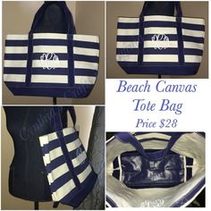 Beach Canvas Tote Bag at $28 also available in pink.  Perfect gift for Mother's Day Gift bridesmaids best friend teacher and many more occasions.. #totebag #teacher #teachergift #summerbag #canvasbag #beachbag #beachtote #navy #canvas #spring #mothersday #bridal #destinationwedding #amazon #mom #sister #sportsmom #yesbbb