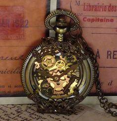 Steampunk pocket watch pendant with vintage filigree PW72