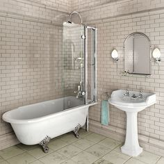 Burlington Hampton Shower Bath 1700 x RH Freestanding The Hampton Shower Bath from Burlington poses a stylish solution to an old problem. Combining the stature and style of a freestanding bath with the practicality of a shower bath, the Hampton can Tub Shower Combo, Shower Tub, Bathroom Showers, Shower Over Bath, Glass Showers, Shower Door, Bad Inspiration, Bathroom Inspiration, Bathroom Renos