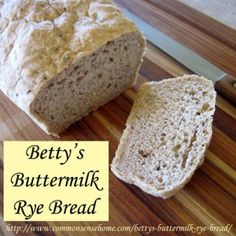 Betty's Buttermilk Rye Bread - Easy rye bread recipe for the bread machine or mixing by hand. Great texture and real rye bread flavor. This recipe I substitute my sourdough starter for the buttermilk. Can you say FABULOUS Rye Bread Recipes, Bread Machine Recipes, Real Food Recipes, Cooking Recipes, Oven Cooking, Potato Bread, Bread Bowls, Sourdough Bread, Yeast Bread