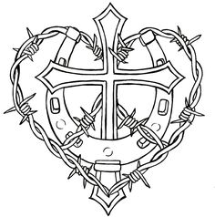 Cross with Horseshoe and Barbed Wire Tattoo by Metacharis.deviantart.com. Wanna get a horseshoe with my wife and daughters name. I am a lucky man.