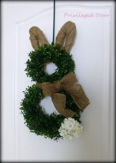 Easter Bunny wreath - boxwood & burlap with geranium tail