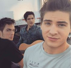 Cody Christian, Tyler Posey and Dylan Sprayberry on the set of Teen Wolf!
