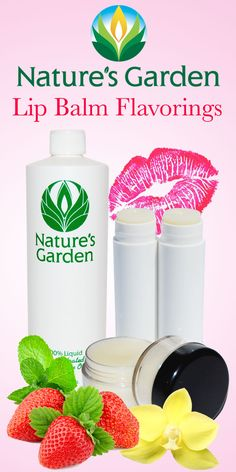 Concentrated lip balm flavorings from Natures Garden. These flavorings can also be used in edible massage products. #Flavorings