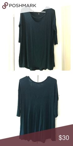 Dark blue-green Maternity Tunic Great, flattering maternity tunic. Light weight, 3 quarter sleeves, flowy. Goes well with jeans or leggings. Great for all trimesters of pregnancy. Tops Tunics