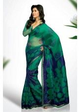 Attractive Green and Blue Super Net Saree with Blouse-JKS5708