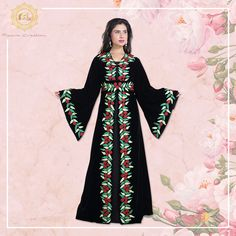 Pave the way for endless compliments in this modest and timeless Moroccan Caftan, made with velvet fabric.  Product no: 8108 Kaftan Abaya, Moroccan Caftan, Black Velvet, Party Wear, Color Mixing, Compliments, Kimono Top, Sequins, Classy