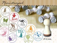 Namen & Monogramme - Kinderstempel * WUNSCHNAME UND -MOTIV * Ø 15 mm - ein Designerstück von sweethomeshop bei DaWanda