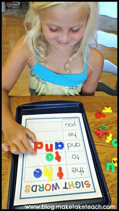 Building sight words on a cookie sheet. Fun way for learning and practicing sight words. Cookie Sheet Activities- First Grade Bundle: Sight Words, Blends/Digraphs and Word Families. Sight Word Activities, Reading Activities, Teaching Reading, Classroom Activities, Kids Learning, Activities For Kids, Indoor Activities, Guided Reading, Classroom Decor