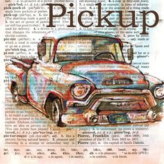 Pickup mixed media drawing on distressed, dictionary page - flying shoes art studio
