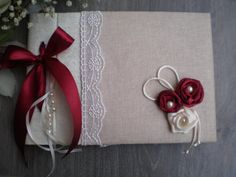 Marsala color guest book-Elegant  wedding guestbook - Romantic guest book - Silk and Lace guestbook