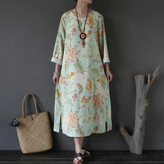 Retro Splitting Women Printing Loose Dyeing Cotton Linen Green Dress