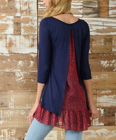 This Navy Layer Sheer-Trim Hi-Low Tunic is perfect! #zulilyfinds