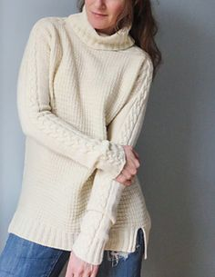 Monica is such a fun, in pattern! Nice cables that run all along the arms from the collar, an easy textured pattern on the front, a cozy turtle neck and just enough length to wear with skinny jeans or a pencil skirt, oversized but with some waist shaping so it doesn't look boxy.