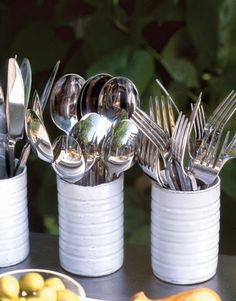 Great Idea ~ painted cans for plasticware or silverware. Could add red and white checkered fabric or paper to outside of can.