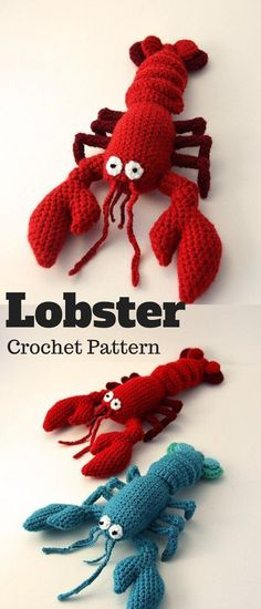 Make your lobster his or her own lobster. Or lobster pair. Never knew lobsters could be so cute :-) #lobster #ad #amigurumi #crochet #pattern
