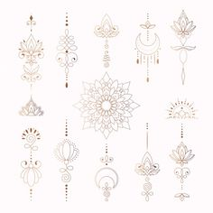 Beautiful tribal elements for woman tatt... | Premium Vector #Freepik #vector #flower #vintage #floral #abstract Line Art Tattoos, Spine Tattoos, Body Art Tattoos, Hand Tattoos, Girl Tattoos, Small Tattoos, Tatoos, Small Finger Tattoos, Tattoo Designs For Girls