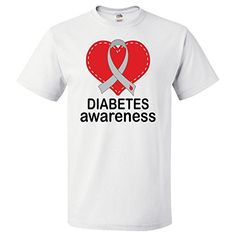 96b88fa81 Amazon.com: Inktastic Diabetes Awareness Month Ribbon Heart T-Shirt:  Clothing