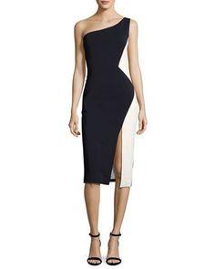 One-Shoulder Colorblock Sheath Dress, Navy/White by Cushnie Et Ochs at Neiman Marcus.
