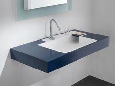 Rectangular wall-mounted HI-MACS® washbasin POOL By PONTE GIULIO design Itamar Harari