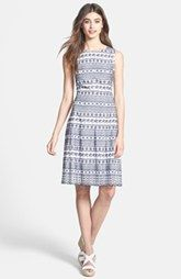 Ivanka Trump Cotton Eyelet Fit & Flare Dress