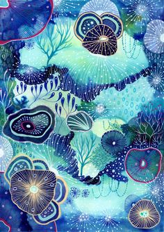 Blue Painting, Gouache Painting, Yellena James, Bathroom Artwork, South Hill, Underwater Art, Pen Art, Art Club, Deco