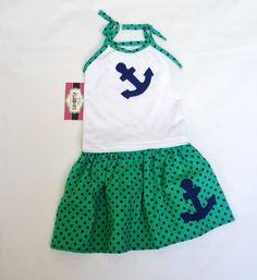 Anchor in Polka Dots  Baby Girl Set    Toddler Set  by LoopsyBaby, $24.00 #nautical#babygirl#polkadots#anchorskirt#babyskirt#summerclothe#kidsclothe